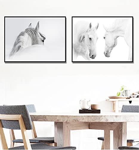 VUSMH Pintura en Lienzo de Dos Caballos Blancos Cuadros de Caballos para Paredes Arte de Pared de Animales Póster de Ojo de Caballo Sala de Estar Dormitorio Decoración de la Pared 50x70cmx2 Si