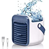 Portable Air Conditioner Fan, Spray humidification, 3 in 1 Air Cooler | Humidifier | Purifier, 2000mAh Rechargeable Battery, 3 Fan Speed, 7 Colors LED Lights Cycle Gradient for Home Kitchen Office