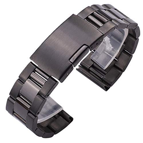 ZXF Uhrenarmband, Massives Edelstahl-Uhr mit Metall gerade Ende Gold und Silber schwarz Uhr Auswechselbügel Armband (Band Color : Black, Band Width : 20mm)
