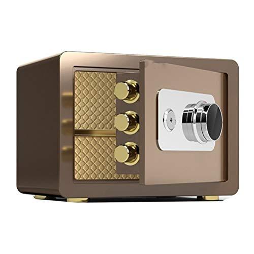 Tresore-SYY Kleiner Stahl Tresore For Zu Hause, Feuerfester Mechanischer Schließfachschrank, Bank- / Firmenkassenschrank, Mit Schlüssel, 2 Farben/Größen (Color : Brown, Size : High 25cm)
