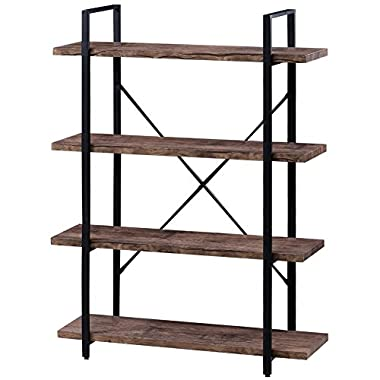 SUPERJARE 4-Shelf Industrial Bookshelf, Vintage Etagere Bookcase, Rustic Book Shelf, Free Standing Storage Display Shelves, Retro Brown
