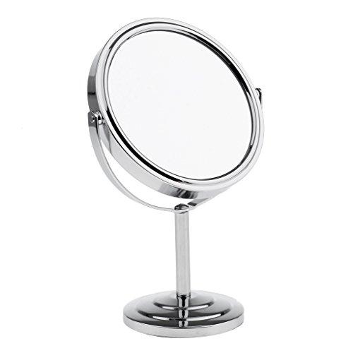 Blesiya Miroir De Maquillage De Table Miroir Compact Grossissant Et Normal 2 En 1 Pivotant à 360 ° - Argent