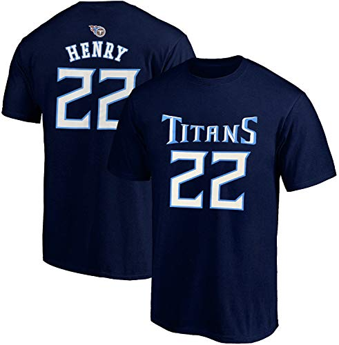 NFL Youth 8-20 Team Color Polyester Performance Mainliner Player Name and Number Jersey T-Shirt (Medium 10/12, Derrick Henry Tennessee Titans Navy Home)