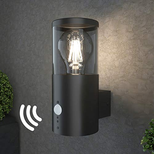 NBHANYUAN Lighting®Buitenverlichting Wandlamp voor buiten met bewegingssensor PIR Wandlamp Armatuur Roestvrij staal Extern weerbestendig voor veranda, voordeur (lamp niet inbegrepen)