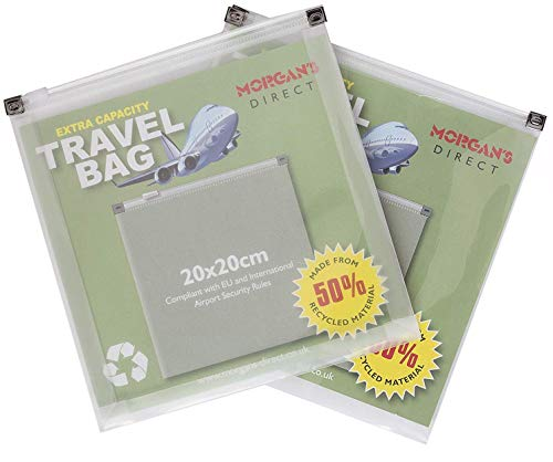 Extra Capacity Clear Plastic Zip Bags Airport Travel Security Liquids - 50% Recycled - Pack 2