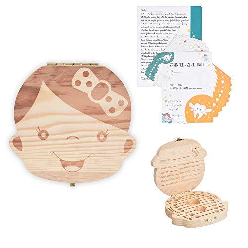Navaris Zahnbox Holz Mädchen mit Zahnfee Urkunde - Milchzahndose Brief Vorlage - Aufbewahrung Zahn Geburtsband Locke - Kinder Baby Milchzähne Box