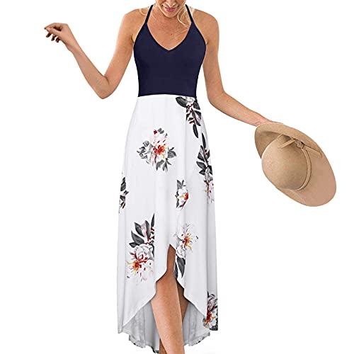 TYTUOO Vestido de verano asimétrico con cuello halter y escote profundo para mujer