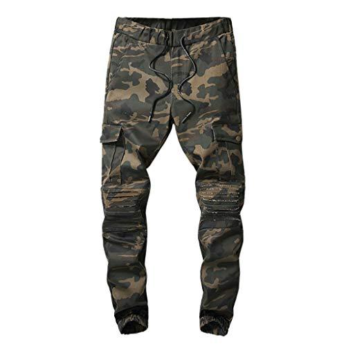 Makalon herenbroek, casual, normale pasvorm, nieuwe stijl, broek, heren, rechte snit, casual, comfortabel, slim, herenbroek, joggingpak, elastische riem (Camouflage, 38)