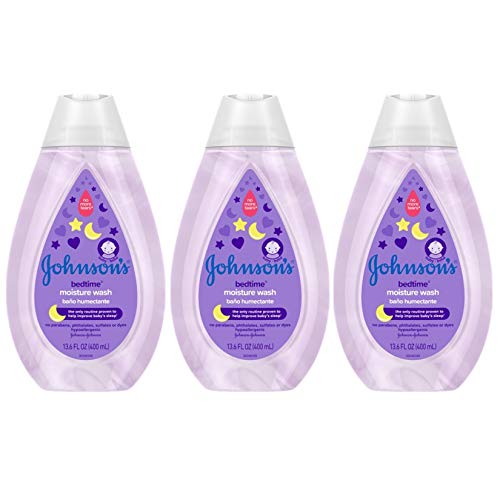 Johnson's Bedtime Baby Moisture Wash with Coconut Oil, Washes Away 99.9% of Germs, Tear-Free Night Time Bath Wash, Hypoallergenic, Paraben- & Dye-Free, No-Animal Testing, 13.6 fl. oz (Pack of 3)