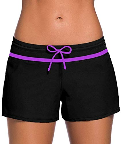 HaiDean Simshorts damer korta storlekar storlek modern vardaglig snabb baddräkt torkande brädshorts UV badshorts strand tankini-shorts sommarrea