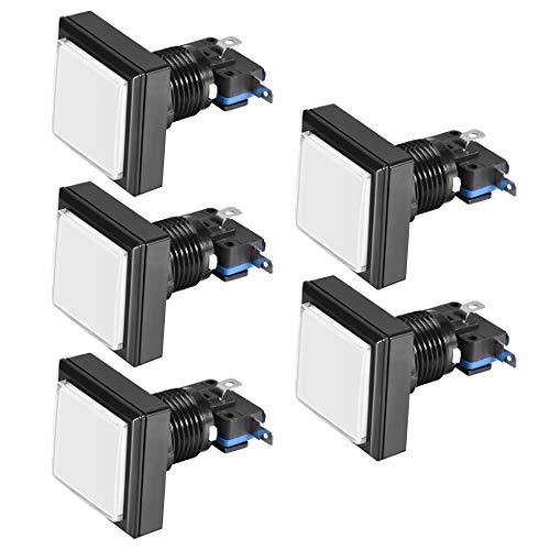 sourcing map Interruptor Botón Iluminado LED 12V Cuadrado 44x44 Botón Pulsador Juego con Micro Interruptor para Videojuegos Arcade Blanco-5 piezas