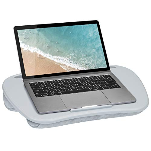 LapGear Mydesk Lap Desk with Device Ledge and Phone Holder - Cool Gray - Fits Up to 15.6 Inch Laptops - Style No. 44435