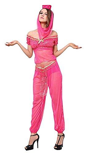 JJ-GOGO Sexy Belly Dancer Costume - Women Arabian Princess Halloween Costume (S) Pink