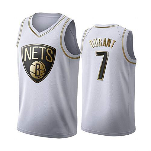 GLACX Jersey de Baloncesto de los Hombres NBA Brooklyn Nets 7# Durant CLÁSICO Tela Transpirable Retro Moda sin Mangas Chaleco Camiseta Unisex,S