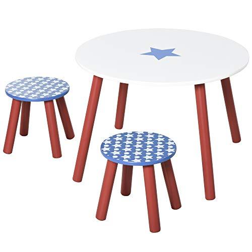 homcom Set Tavolo e 2 Sgabelli Decorazione con Stelle per Cameretta Bambini 3-8 Anni in Legno Blu, Rosso e Bianco