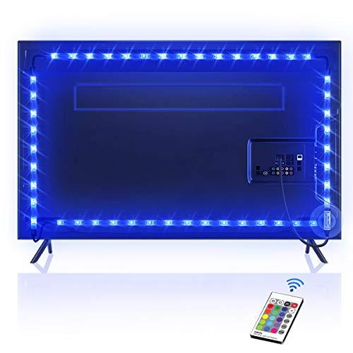 OMERIL Bande LED pour TV 2,2M, 5050 RGB Bandeau LED 16 Couleurs et 4 Modes Ruban Lumineux, Ruban LED TV Etanche avec Télécommande pour 40'-60' HDTV/PC Moniteur, Alimenté par USB [2x50cm+2x60cm]