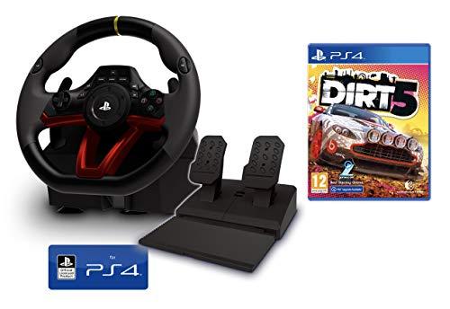 Volante y Pedales PS4/PS5 Inalámbrico [Nuevo Modelo] Licencia Oficial Sony Playstation + DiRT 5 (PS4/PS5)