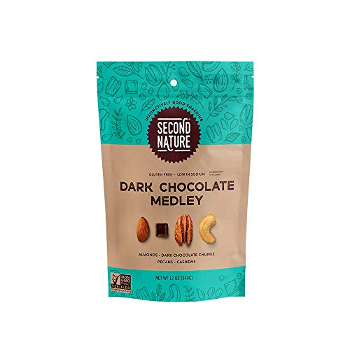 Second Nature Dark Chocolate Medley Trail Mix - Snack Nut Blend, Gluten Free - 12 oz Resealable Standup Pouch