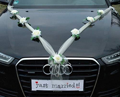 Organza M Auto Schmuck Braut Paar Rose Deko Dekoration Autoschmuck Hochzeit Car Auto Wedding Deko Girlande PKW (Ecru/Weiß)