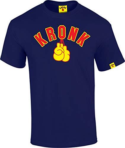 KRONK Gants De Boxe T-Shirt Coupe Classique Homme Bleu Marine et Jaune Petit