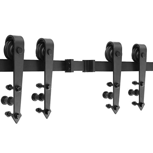 Schiebetürbeschlag set Schiebetürsystem Schiebetür Montageset inklusive Laufschiene,für Glas- oder Holztüre (Schwarz,366cm/12ft,Pfeilform,Doppeltür)