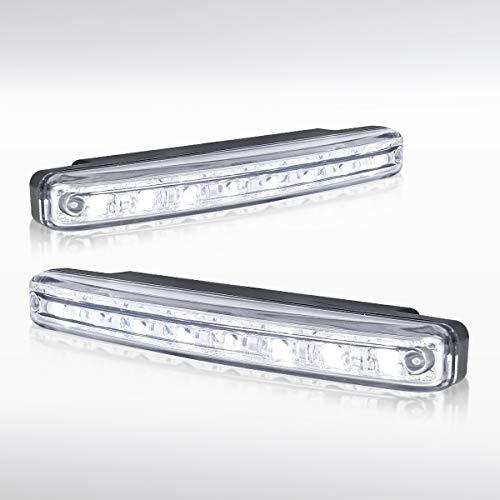 Autozensation 12V 6000K 8-LED Clear Lens Hyper White Fog Bumper Lights Lamps 4W Pair