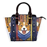 IUBBKI bolso Corgi perro vaquero de cuero genuino bolso con remaches correa de hombro con asa superior para mujer