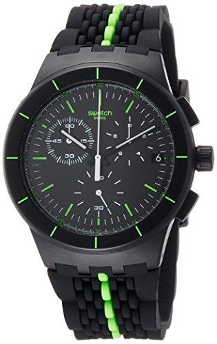 Swatch Herren Digital Quarz Uhr mit Silikon Armband SUSB409