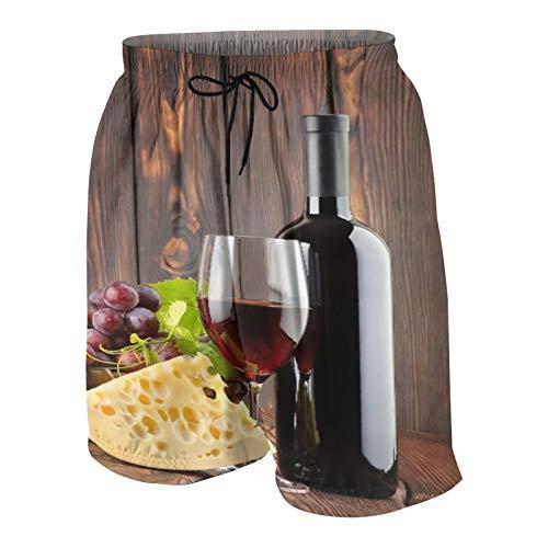 WSNWCY Costume da Bagno da Spiaggia da Uomo,Vino Rosso Cabernet Bottiglia di Vetro Formaggio,Costume da Bagno Estivo con Tasca Taglia S
