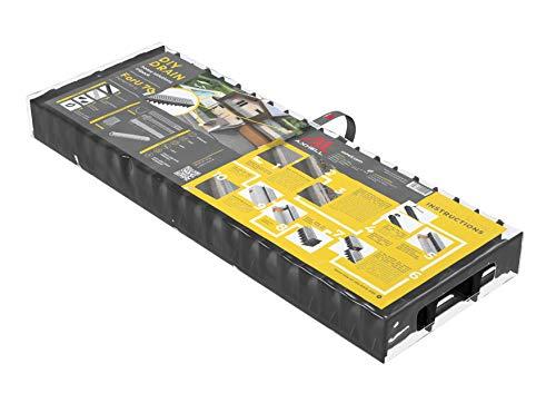 AxHeLL Canaletta di Scolo Nera con Griglia a Pioli Acciaio Zincato Fai-da-Te 1000x100x70 mm (Confezione da 3)