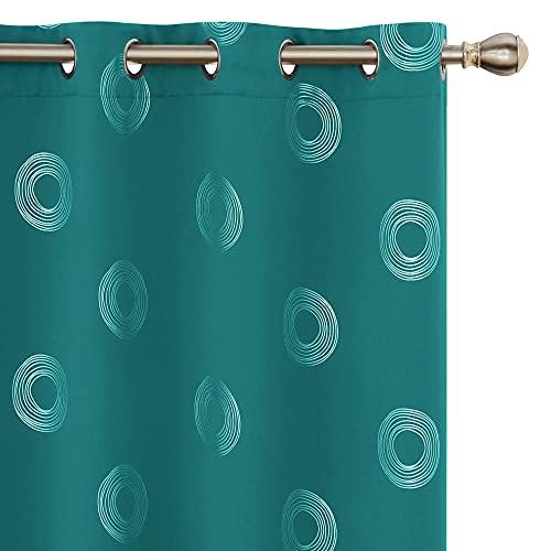Amazon Brand - Umi 2 Stück Abdunklungsvorhang Lärmschutzvorhang Blickdichte Vorhänge Motiv 175x140 cm Türkis