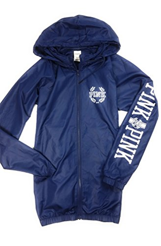Victoria's Secret Pink Anorak Windbreaker Jacket Hoodie Full Zip Medium/Large Blue NWT