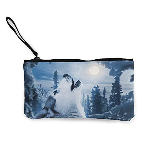 Bolsa de lona con diseño de animales silvestres con diseño de lobo para ir de compras y actividades al aire libre