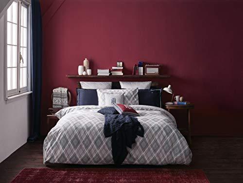 Tommy Hilfiger - Juego de sábanas para cama de matrimonio de 2 plazas, de raso satinado, sábana encimera + 2 fundas de almohada (no incluye sábana bajera), color gris