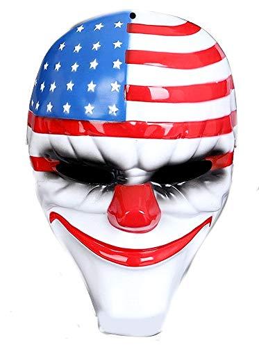 Clownmasker - moordenaar - clown - gips - binnenvoering - elastische banden - vlag van amerika - origineel idee voor een verjaardagscadeau voor kerstmis pennywise clown horror joker