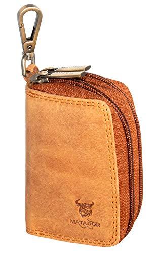 MATADOR Echt Leder Schlüsselanhänger Schlüsseltasche Auto-Schlüssel-Anhänger Antik Vintage Braun Karabienerhacken Tasche Doppelter Reißverschluss