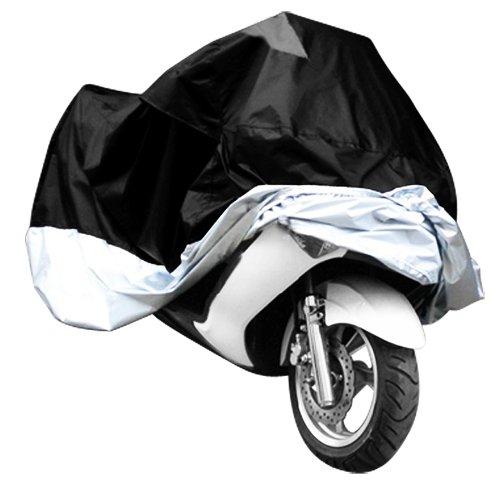 Surepromise Gr. XXXL Motorradabdeckung Motorradplane Motorradplane Motorradgarage Outdoor Indoor 190T Wasserdicht Winterfest Motorrad Abdeckplane Abdeckung mit Tasche (XXXL, schwarz&silber)