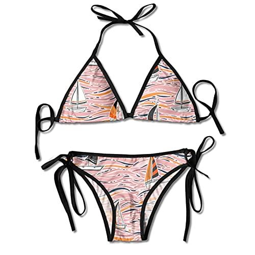 Conjuntos de Bikinis de Dos Piezas para Mujer Coloridos Barcos de Windsurf Traje de baño Halter Acolchado Push Up Ropa de Playa para Playa Piscina Surf Negro