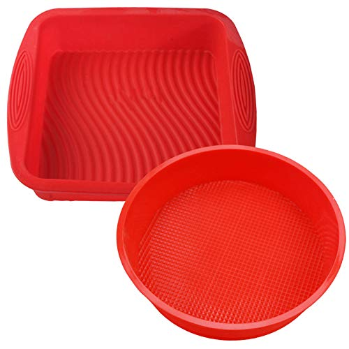 Set of 2, Silicone Cake Baking Pan, findTop Square Shape 8.5 Inch Cake Mold and 9 Inch Round Shape Non-Stick Bakeware Mold, Red