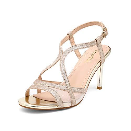 DREAM PAIRS Women's Strappy Stiletto Heels Open Toe Dress Pumps Heeled Sandals,NINIA-1/Gold/Glitter,Size10 US