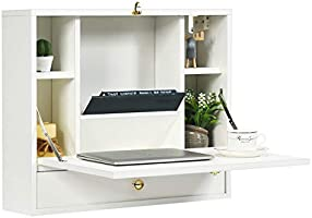 Tangkula Wall Mounted Desk, Multi-Function Floating Desk Wall Mount Laptop Desk, Space Saving Wall Mounted Table Wall...