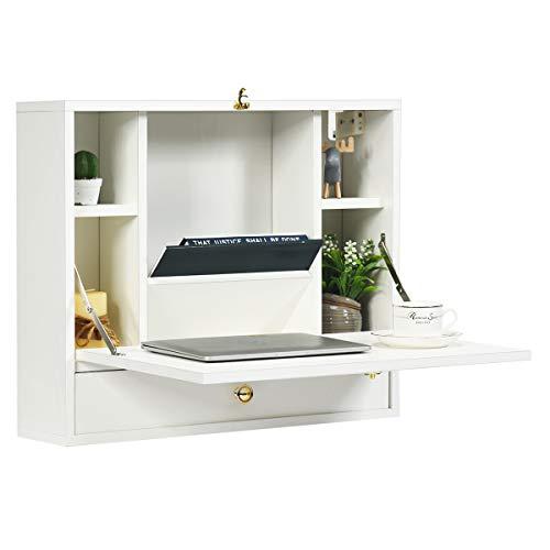 COSTWAY Wandtisch klappbar, Schreibtisch wandhängend, schwebender Wandklapptisch, Klapptisch mit Ablagefach und Schublade, Laptop-Tisch aus Holz, Computertisch multifunktional (Weiß)
