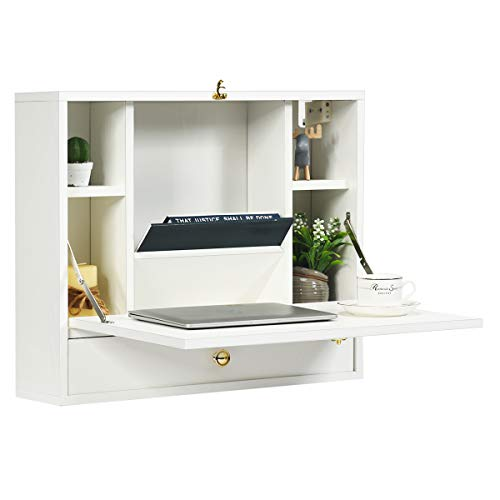 TANGKULA Wall Mounted Table, Multi-Function Wall Mount Laptop Desk, Writing Desk Home Office Computer Desk with Large Storage Area, Wall Desk Floating Desk (White)