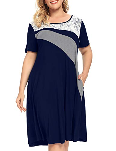 MONNURO Womens Short Sleeve Color Block Lace Cover Casual Loose Swing A-line Plus Size Shirt Tunic Dress with Pockets(Navy Blue,3X)