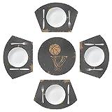 Lerous Lot de 5 sets de table ronds en papier vieilli avec centre de table, résistants à la chaleur, lavables et faciles à nettoyer