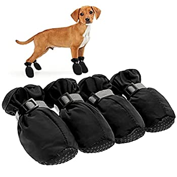 BINGPET Waterproof Dog Boots - Pet Shoes for All Seasons Reliable Dog Paw Protectors with Reflective Straps Non-Slip Pet Shoes for Small and Medium Dogs Indoor & Outdoor Wear