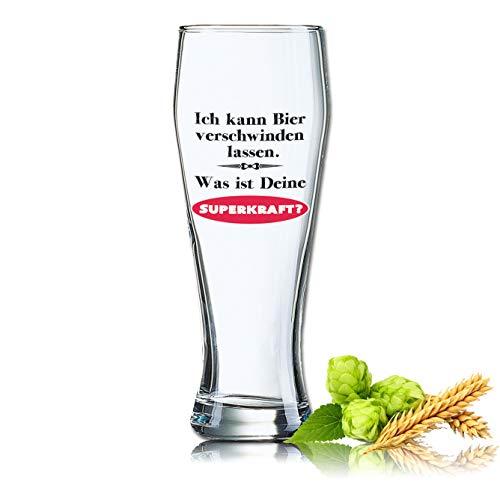 PorcelainSite Geschenkideen GmbH Lustiges Bierglas Weizenbierglas Bayern 0,5L - Dekor: Ich kann Bier Verschwinden Lassen. was ist Deine SUPERKRAFT?