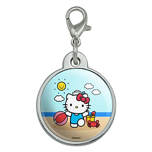 GRAPHICS & MORE Hello Kitty Day at The Beach Chrome Plated Metal Pet Dog Cat ID Tag