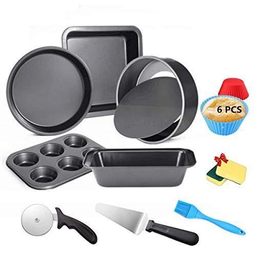 Set da forno da forno con vassoio per muffin, set da 16 pezzi di teglia antiaderente per pane, include teglia da forno, teglia per tostatura, acciaio al carbonio per casa e negozi