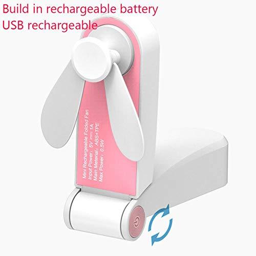 Bhu - Fascia da collo con ventola ricaricabile USB a mani libere, doppia testa a vento regolabile a 3 velocità 8,8 x 3,5 cm rosa.
